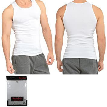 47a46f7485144c 100% Premium Cotton Mens A-Shirt Wife Beater Ribbed Muscle Tank Top White L  !  Amazon.co.uk  Sports   Outdoors