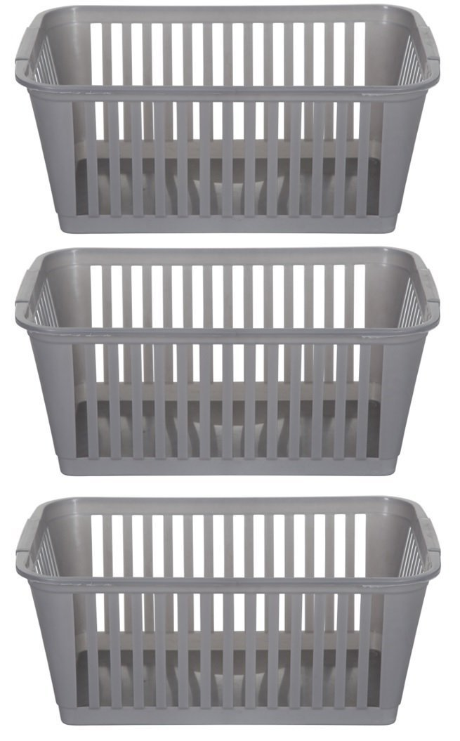 37cm Silver Plastic Handy Basket Storage Basket - Set Of 3