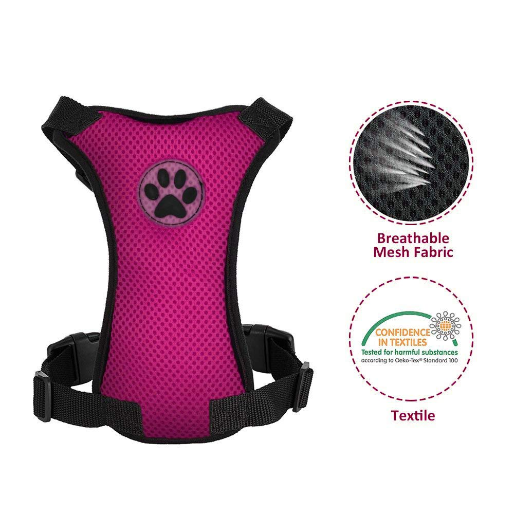 Nasjac Dog Car Harness Seatbelt Set Pet Vest Harness with Safety Seat Belt Multi-function Padded Breathable Fabric and Adjustable Elastic Strap in Vehicle for Dogs Walking Travel