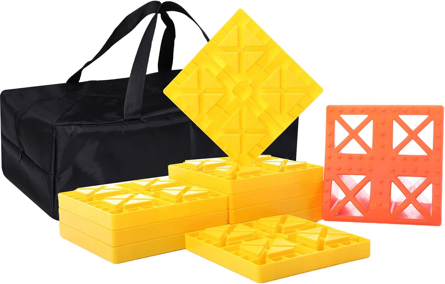 Heavy Duty Camper Leveling Blocks and Chocks Anti-Slip Pads Design One Top Tire Wheel Chock and 9 Pack Interlocking Leveling Blocks with Carrying Bag Homeon Wheels RV Leveling Blocks WH-303