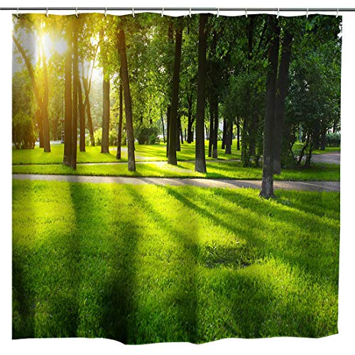 (BROSHAN Nature Shower Curtain Fabric,Green Tree Woodland Landscape Garden Sunrise Art Print,Polyester Waterproof Fabric Bathroom Bath Decor Set with Hooks,72x72 Inch, Green )