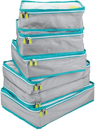 blanc et orange mDesign sacs de rangement avec fermeture /éclair bleu marine housse de rangement pour bagage /à main ou valise lot de 4 insert en maille sacoche voyage en polyester respirant