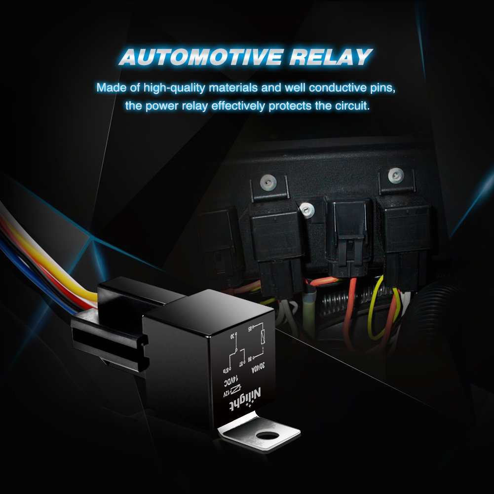 Nilight Automotive Relay Harness Set 5 Pin 30 40a 12v 87a Function Spdt With Interlocking Socket And Wiring Pack2 Years Warranty