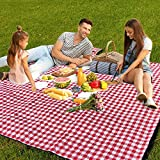 AMMSUN Extra Large Picnic Blankets 80''x80'' Washable Foldable Waterproof Portable Oversized Compact Picnic Mat for Outdoor Picnics, Spring Summer Blanket Beach, Camping on Grass Red and White