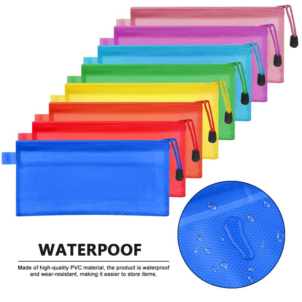 FOCCTS Set di 16 Pezzi Busta per Ufficio Formati Zipper Borse di File Portadocumenti con Chiusura Cartella Busta per Cosmetici Uffici Forniture Accessori da Viaggio 8 Colori