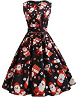 Kimitsu-Science Santa Claus Print Vintage Dresses Women New Slim Knee-Length Sleeveless Vestidos