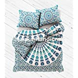 """Exclusive White Blue Mandala DUVET COVER WITH PILLOWCASES By """"MADHU INTERNATIONAL, Mandala Comforter Cover Queen Bedding Throw Indian Duvet Cover quilt cover, Boho duvet cover"""