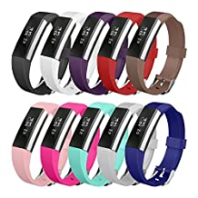 Fitbit Alta Band, UMTELE Soft Replacement Wristband with Metal Buckle Clasp for Fitbit Alta Smart Fitness Tracker 10PACK