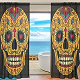 SEULIFE Window Sheer Curtain, Mexican Sugar Skull Halloween Voile Curtain Drapes for Door Kitchen Living Room Bedroom 55x78 inches 2 Panels