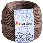 EricX Light 100% Organic Hemp Wick, 200 FT Spool, Well Coated With Natural BeesWax, Standard Size(1.0mm)