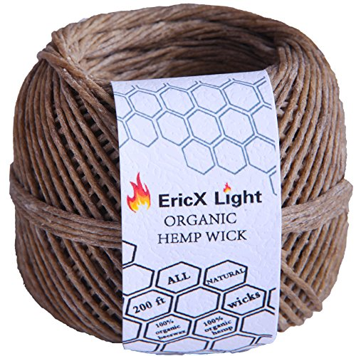 EricX-Light-100-Organic-Hemp-Wick-200-FT-Spool-Well-Coated-With-Natural-BeesWax-Standard-Size10mm