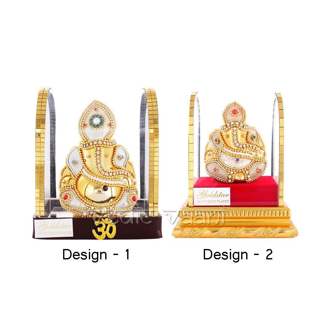 Vedic Vaani Golden Ganesh Idol in Acrylic Frame