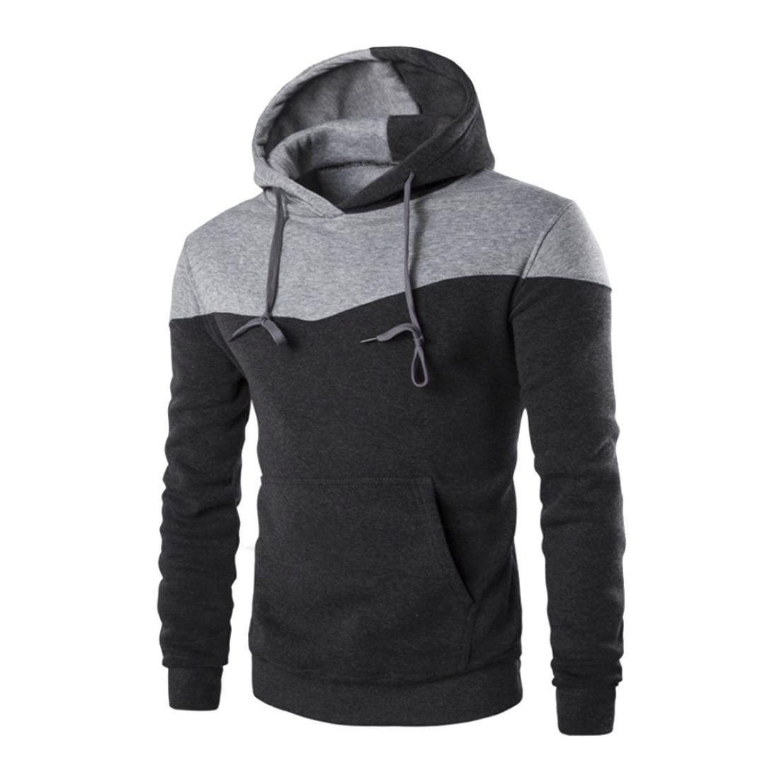 Napoo Clearance Mens TOP Fashion Pocket Patchwork Slim Solid Hooded Sweatshirt Outwear (XL, Dark Gray)
