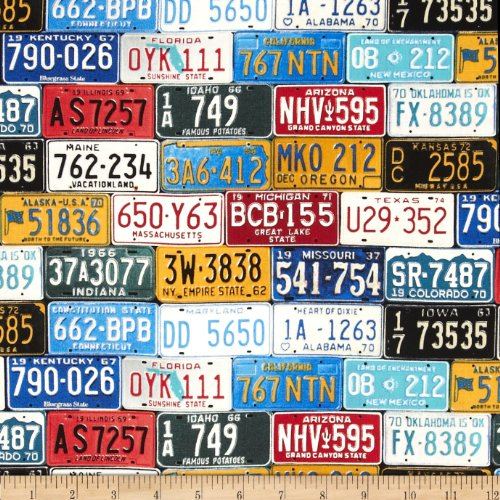 Timeless Treasures License Plates Multi Fabric By The Yard