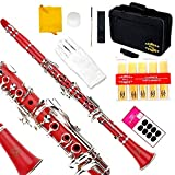 Glory Red/Silver keys B Flat Clarinet with Second Barrel, 11reeds,8 Pads cushions,case,carekit,CLICK to see More colors