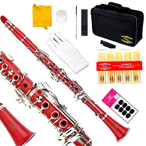 Glory Red/Silver keys B Flat Clarinet with Second Barrel, 11reeds,8 Pads cushions,case,carekit,CLICK to see More colors by GLORY