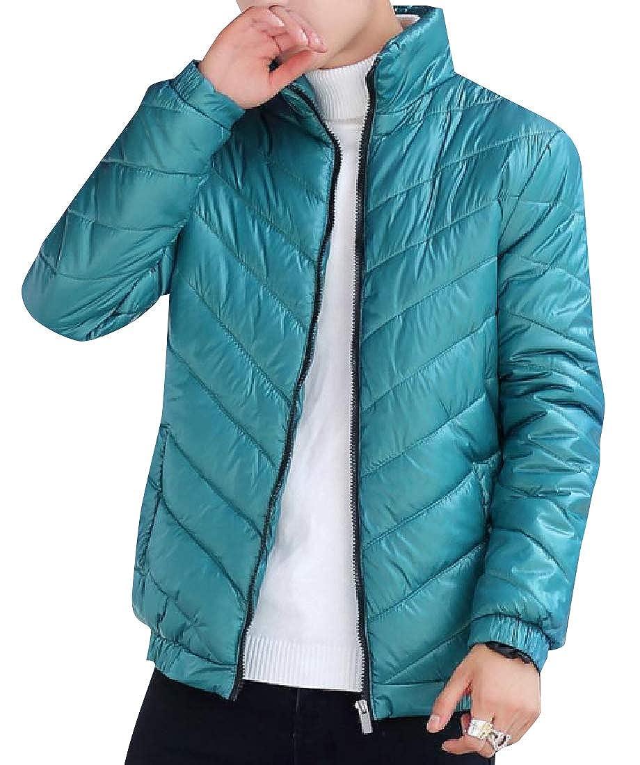 Vska Mens Hiking Chunky Raw Cut Hem Puffy Jacket with Pockets
