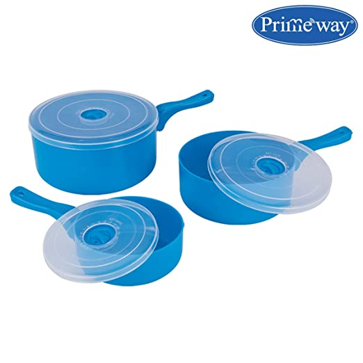 Prime Housewares - Microwave Pan Containers S/M/B - 3 Pcs Set - Blue Kitchen Storage & Containers at amazon