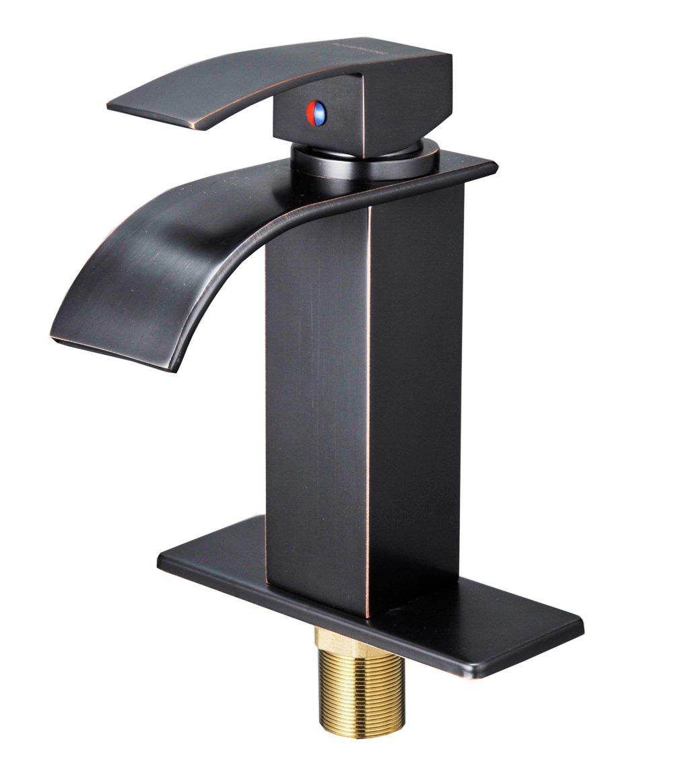 Aquafaucet Waterfall Spout Single Handle One Hole Bathroom Sink ...