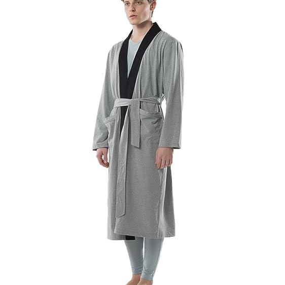 JOHN&ELAINE Men\'s Knitted 100% Cotton Robe Lightweight Sleepwear ...