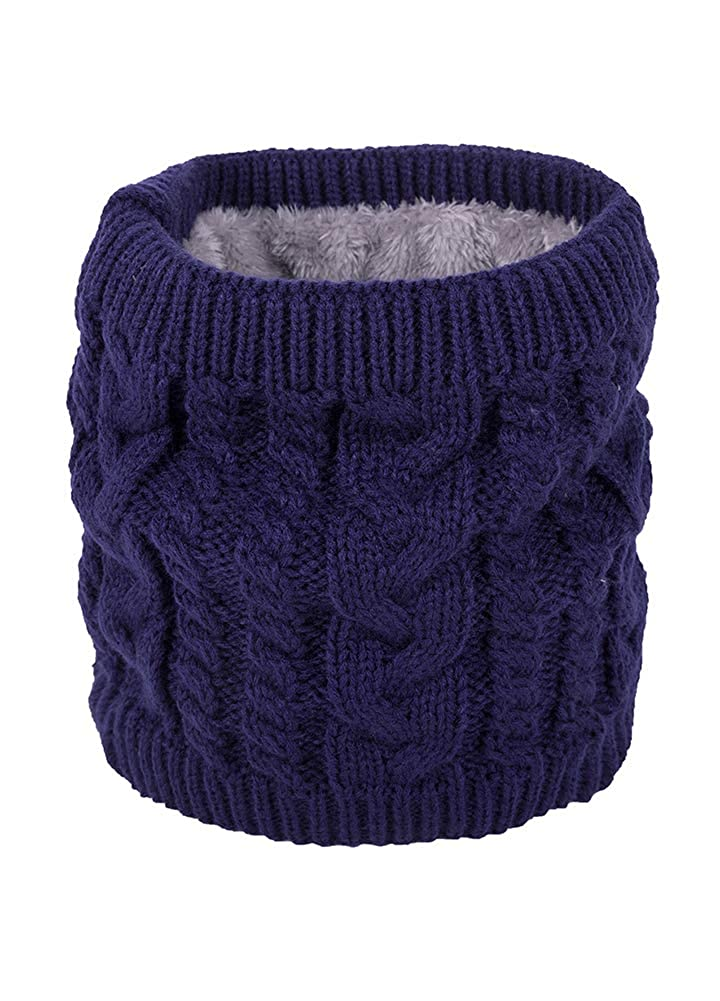 Romacci Winter Fleece Lined Knit Thick Neck Warmer Double-Layer Soft Windproof Scarves