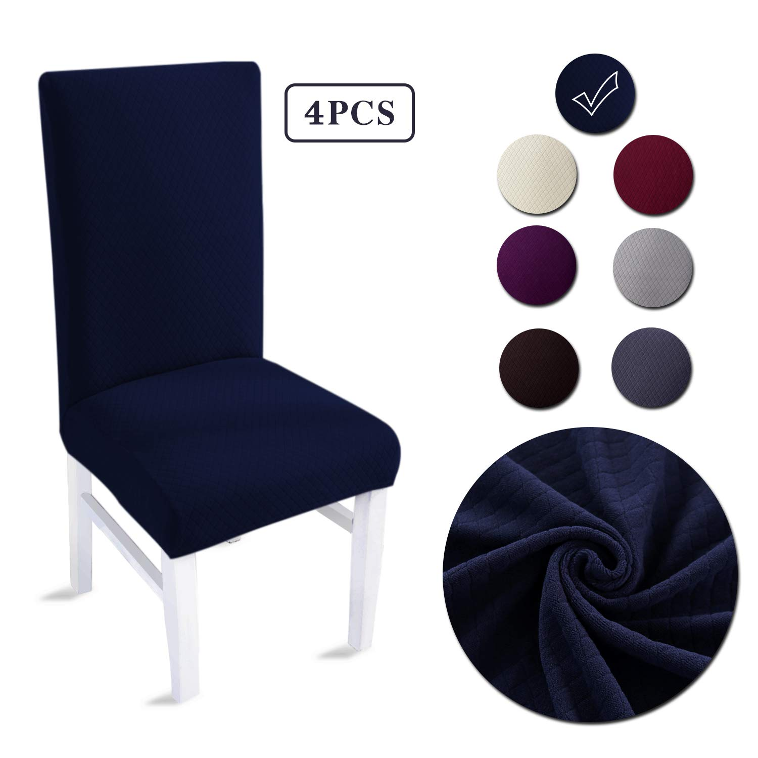 LAIKEUP Dining Room Chair Covers Set of 4 Navy Spandex Stretch Fabric Dining Chair Seat Protector Removable Washable Elastic Chair Slipcover for Home,Hotels,Wedding,Banquet,Party