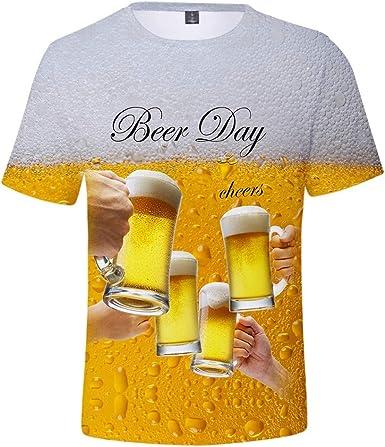 Camiseta Hombre Verano Manga Corta 3D Cerveza Impresión Moda Originales Camiseta Casual T-Shirt Blusas Camisas Camiseta Cuello Redondo Suave básica Deporte Chándal Hombre Camiseta Tops vpass: Amazon.es: Ropa y accesorios