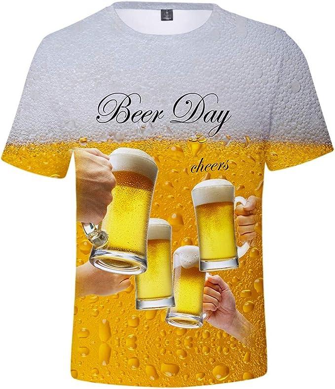 Camiseta Hombre Verano Manga Corta 3D Cerveza Impresión Moda ...