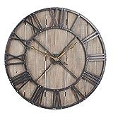 Household Essentials Large Oversized Decorative Rustic Wall Clock, Brown Wood/Black Metal