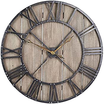 Household Essentials Large Oversized Decorative Rustic Wall Clock, Brown  Wood / Black Metal