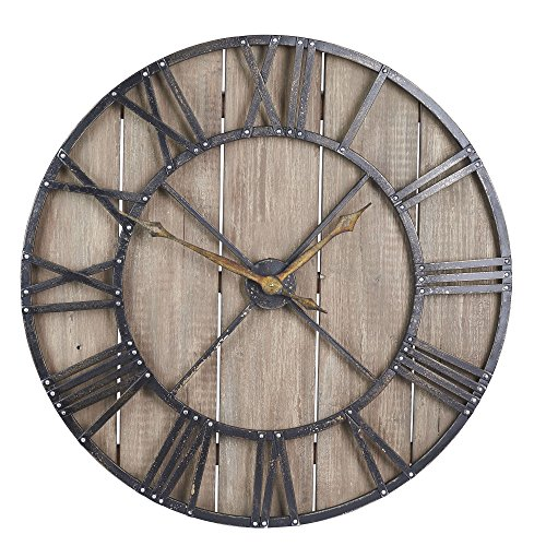 Brown Dot Clock - Household Essentials Large Oversized Decorative Rustic Wall Clock, Brown Wood/Black Metal