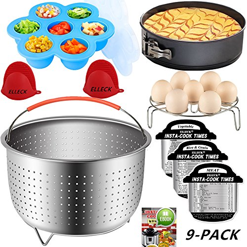 Instant Pot Accessories Set 9- Fits 6 or 8 Quart Instant Pot Pressure Cooker& Steamer Basket, Silicone Egg Bites Mold, Springform Pan, Cheat Sheet Magnets, Egg Rack, Mini Mitts, Best Gift Idea