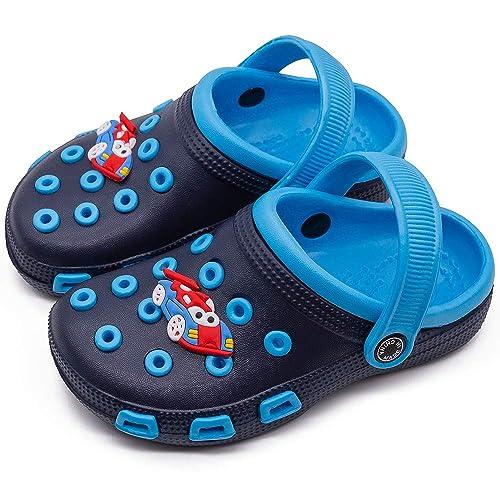 eccbox Toddler Little Kids Clogs Cute Lightweight Garden Shoes Non-Slip Boys Girls Slide Sandals Summer Beach Water Shower Pool Slippers