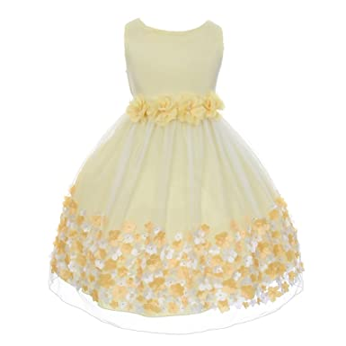 aae523f5004b Image Unavailable. Image not available for. Color: Kid's Dream Big Girls  Yellow Taffeta Flowers Sleeveless Easter Dress 8