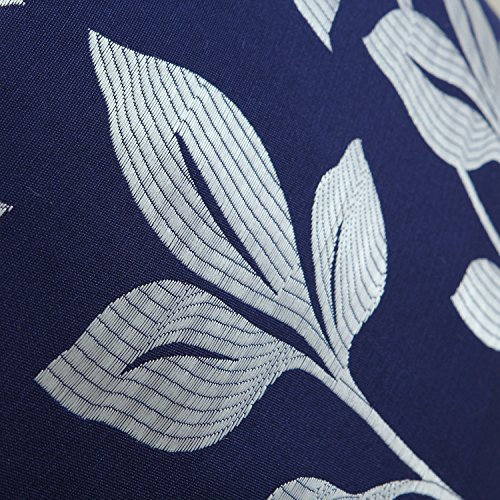 Pack of 2 CaliTime Soft Throw Pillow Covers Cases for Couch Sofa Home Decor, Cute Growing Leaves, 18 X 18 Inches, Navy Blue