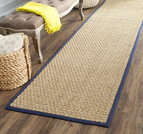 (Safavieh Natural Fiber Collection NF114E Basketweave Natural and Blue Summer Seagrass Area Rug (2' x 3') )
