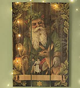 Handcrafted Holiday Cedar Wall Plaques by Gizuan Art, in Forest Santa