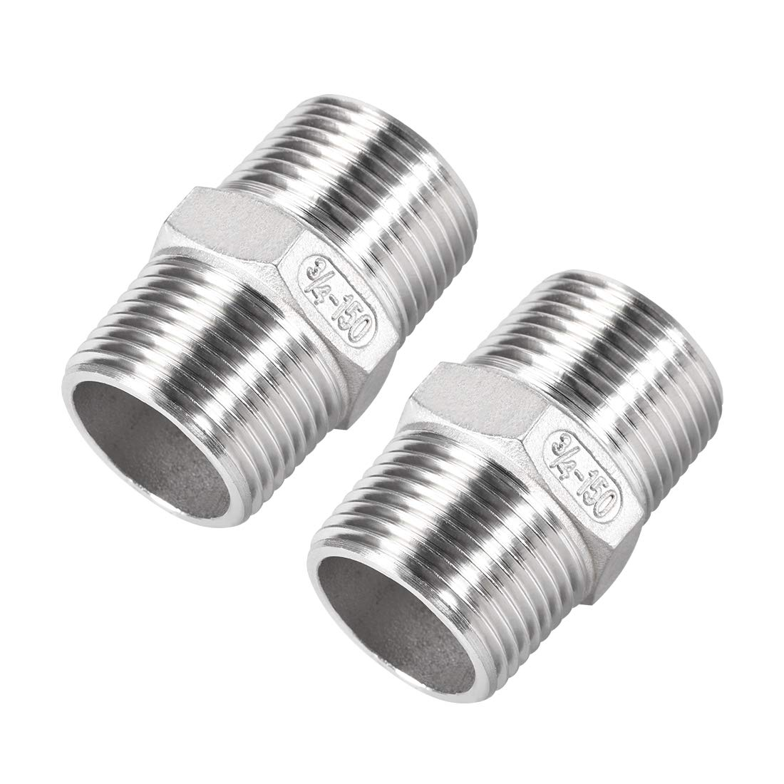 uxcell Stainless Steel 304 Cast Pipe Fittings Coupling Fitting 3//4 x 3//4 G Male
