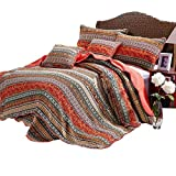 AMWAN Floral Striped Quilt Set Queen 100% Cotton Boho Style Bedspread Quilt Set Full Exquisite Flower Printed Quilt Set Luxury Patchwork Coverlet Set 3 Piece Reversible Quilt Set with 2 Pillow Shams