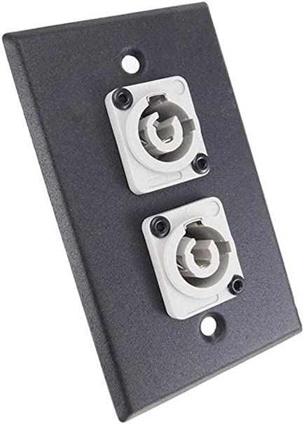 Mates w//Neutrik Powercon usbargainsound ProCraft Black Wall Plate 2 Power Out Gray AC Jacks