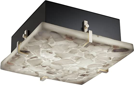 Justice Design Group Fusion 4-Light Fluorescent Flush-Mount Dark Bronze Finish with Weave Artisan Glass Shade