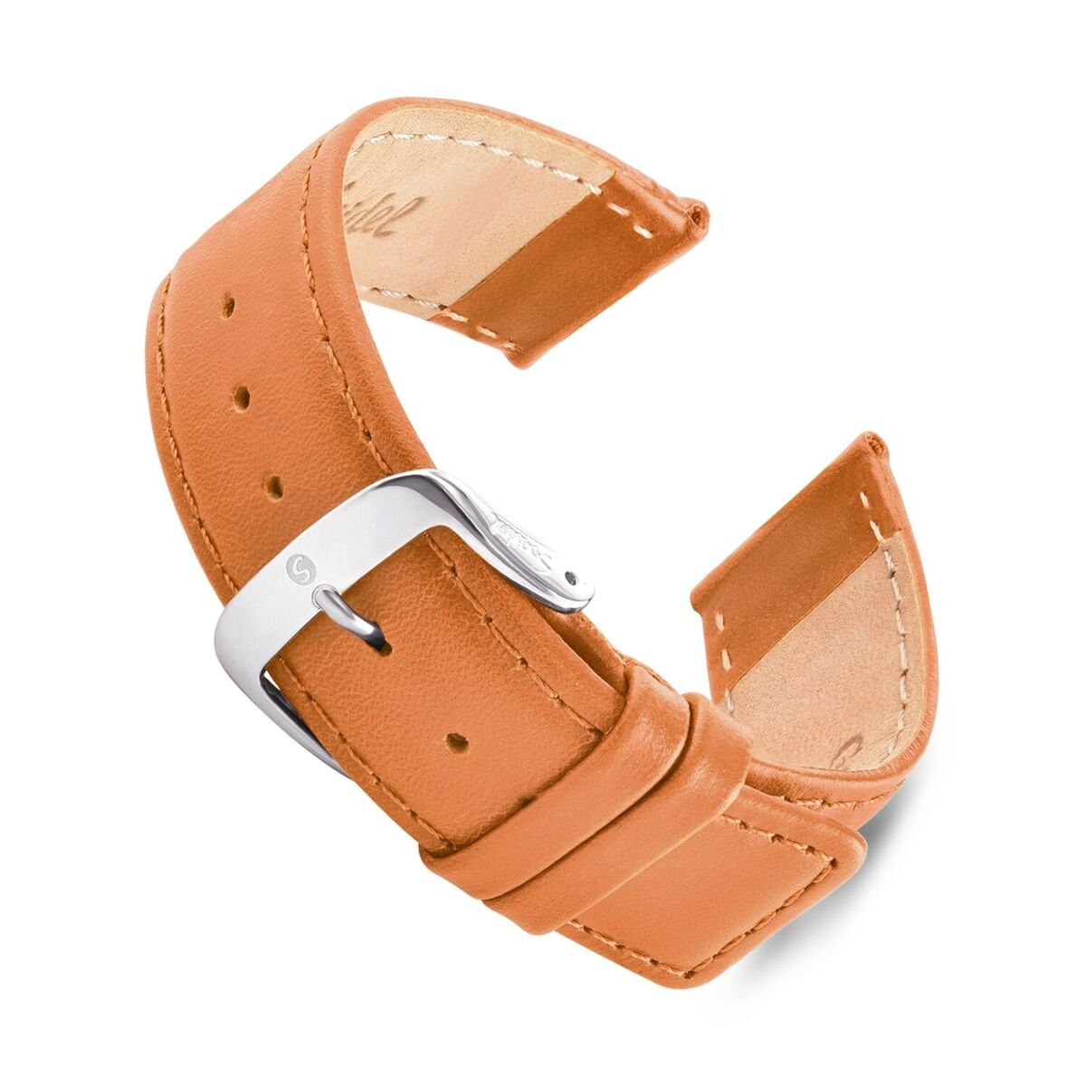 Speidel Genuine Leather Square Tip Watch Band 28mm Honey Oiled Leather Replacement Strap, Stainless Steel Metal Buckle Clasp, Watchband Fits Most Watch Brands