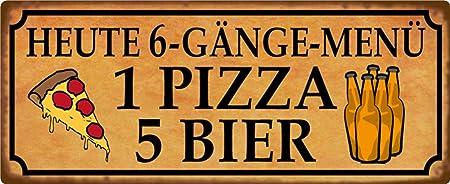 BlechschilderWelt Targa in Metallo con Scritta in Lingua Tedesca 1 Pizza 5 Birra 6 Marce Men/ü