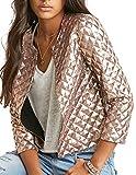 HaoDuoYi Womens Basic Sparkly Plaid Sequin Short Blazer Biker Jacket Outwear(L,Silver)