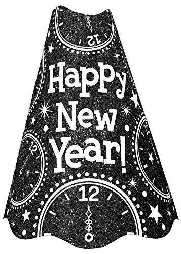 amscan Rocking New Year's Party Clocks Glitter Cone Hat Accessory, Black, 9