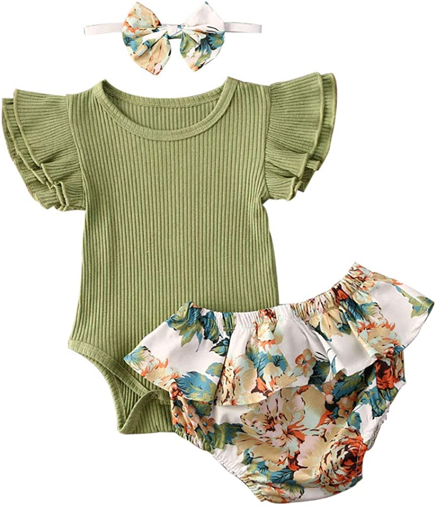 Newborn Baby Girls 2pcs Clothes Set Ribbed Bodysuit Romper and Floral Leopard Ruffle Short/Pant with Headband