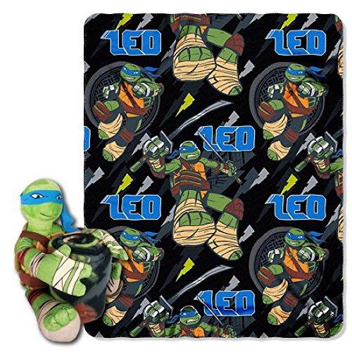 Nickelodeons Teenage Mutant Ninja Turtles Leonardo Character Pillow and Fleece Throw Blanket Set