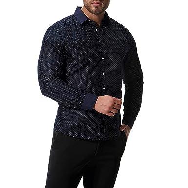 Chickwin Hombre Casual Manga Larga Camisa de Algodón, Moda Transpirables Fácil de Planchar de Slim Fit para Traje, Business, Bodas, Tiempo Libre Camisas (S, Armada): Amazon.es: Ropa y accesorios