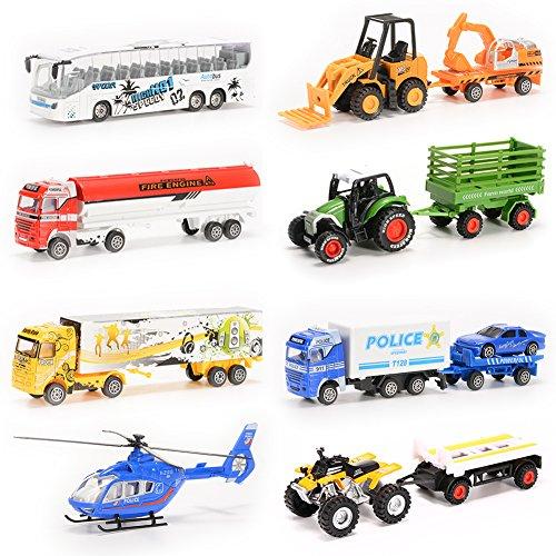 thinkmax 8pcs diecast metal car models children toy play set vehicles playset