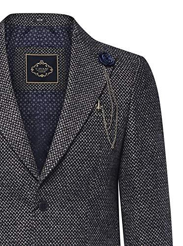 House Of Cavani Manteau Chic Homme Longueur 3/4 Tweed à Chevrons Style Peaky Blinders